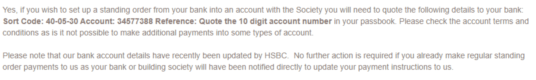 HBS Payment details